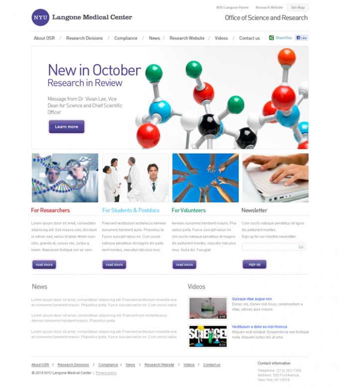 NYULMC Office of Science & Research Concept Design