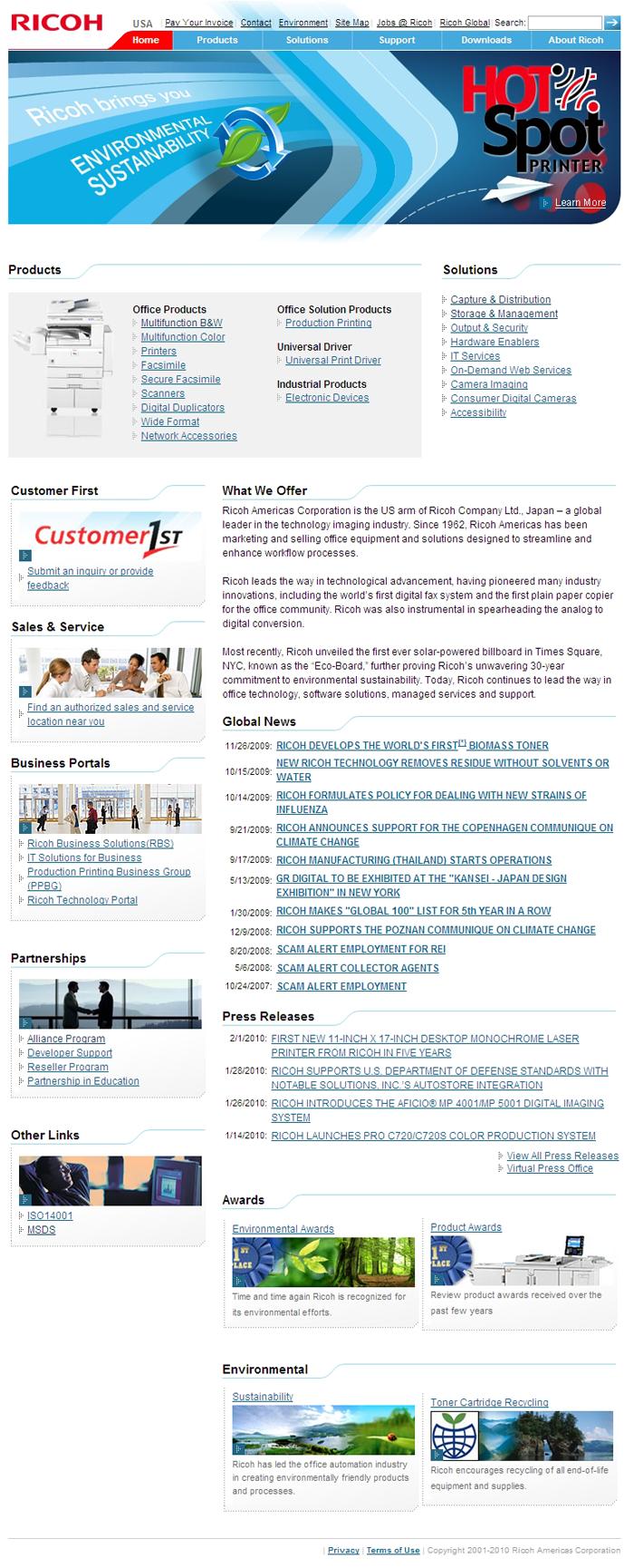 Ricoh USA Corporate Website 2008-2010
